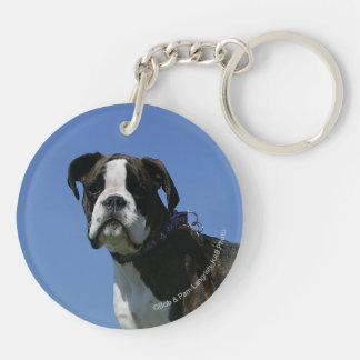3 Month Old Boxer Puppy Double-Sided Round Acrylic Keychain