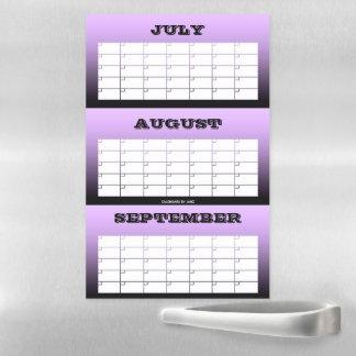 3 Month Purple Blank Calendar by Janz Magnetic Dry Erase Sheet
