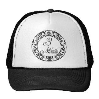 3 Months Black Damask Milestone Trucker Hat