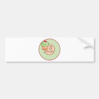 3 Months Cupcake Milestone Bumper Sticker