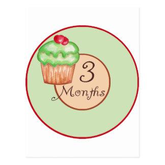 3 Months Cupcake Milestone Postcard