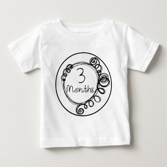 3 Months Doodle Milestone Baby T-Shirt
