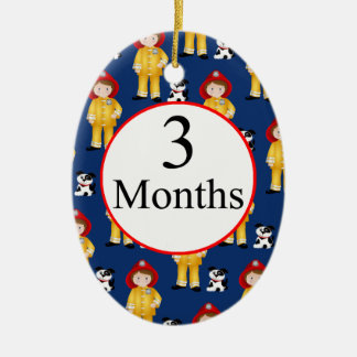 3 Months Firefighter Milestone Ceramic Ornament
