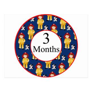 3 Months Firefighter Milestone Postcard
