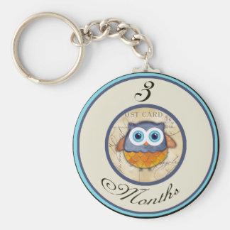3 Months Owl Milestone Key Chain