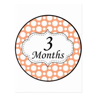 3 Months Polka Dot Milestone Postcard