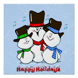 3 muñecos de nieve cantantes poster
