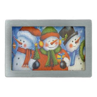 3 muñecos de nieve felices hebilla cinturón rectangular