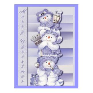 3 muñecos de nieve - postal