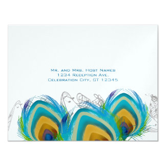 3 Musical Peacock Feathers RSVP Postcard 4.25x5.5 Paper Invitation Card