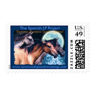 3 MUSTANGS & MOON Spanish Horses Postage Stamps