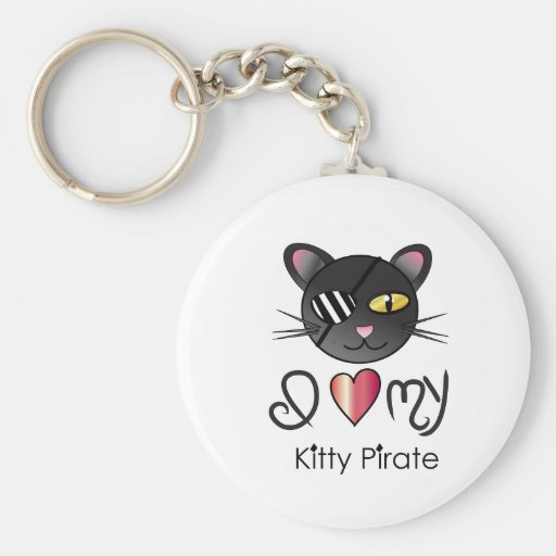 <3 my kittyPIRATE Basic Round Button Keychain