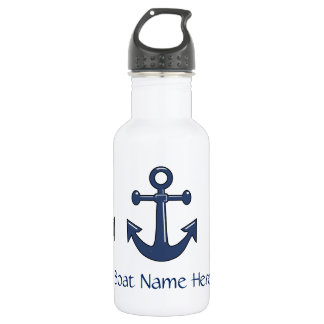 3 Nautical Blue Ship Anchors Custom Boat Name Water Bottle