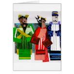 3 navidad del cubista de los hombres sabios tarjetas