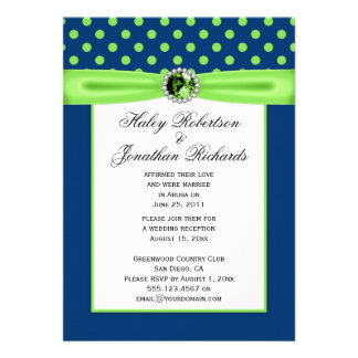 3 Navy Blue and Lime Green Polka Dots Wedding Custom Invitation
