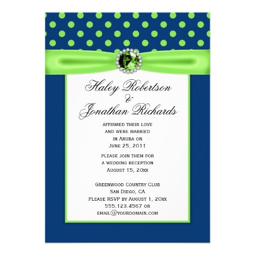 #3 Navy Blue And Lime Green Polka Dots Wedding 5x7 Paper