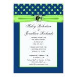 "#3 Navy Blue and Lime Green Polka Dots Wedding 5"" X 7"" Invitation Card"