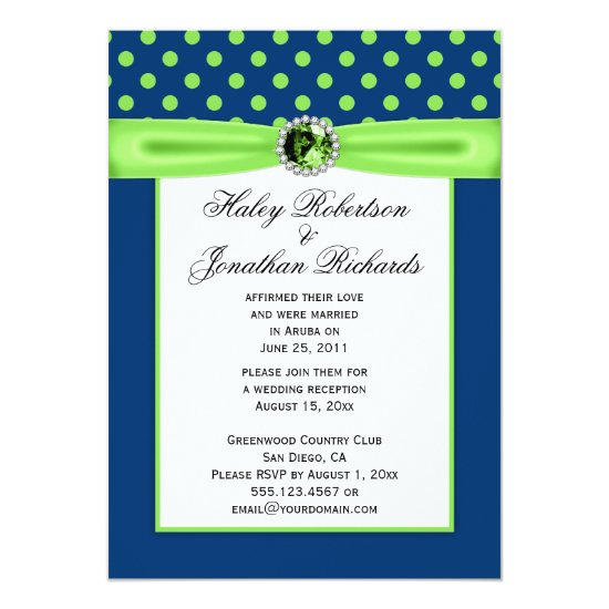 #3 Navy Blue and Lime Green Polka Dots Wedding Invitation