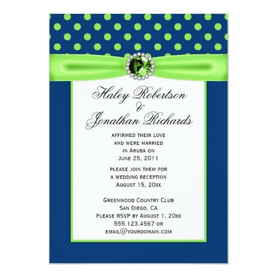 3 Navy Blue And Lime Green Polka Dots Wedding Invitation Zazzle Com