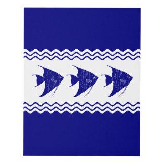 3 Navy Blue And White Coastal Decor Angelfish