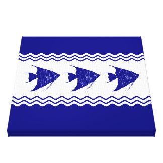 3 Navy Blue And White Coastal Decor Angelfish Canvas Print
