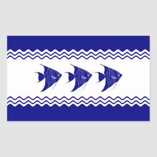 3 Navy Blue And White Coastal Decor Angelfish Rectangular Sticker