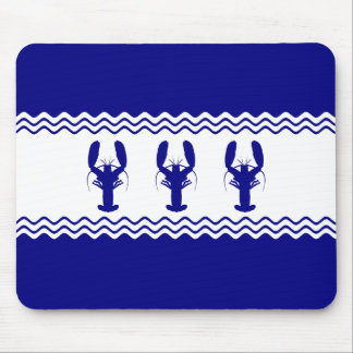 3 Navy Blue And White Coastal Lobsters Mouse Pad