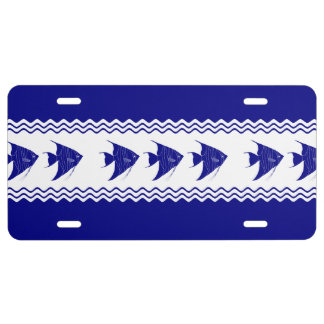 3 Navy Blue And White Coastal Pattern Angelfish License Plate