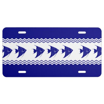 Beach Themed 3 Navy Blue And White Coastal Pattern Angelfish License Plate