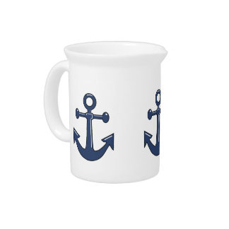 3 Navy Blue Boat Anchors Nautical Marine Theme Drink Pitcher