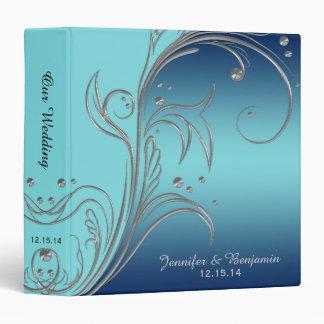 #3 Navy Blue Teal Silver Floral Scrolls Album Binder