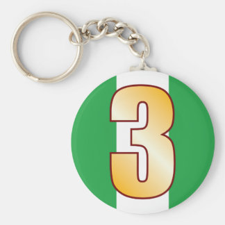 3 NIGERIA Gold Keychain