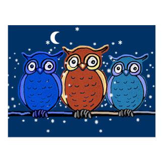 3 night owls postcard