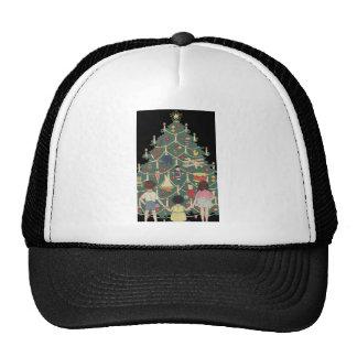 3 niños y un árbol de navidad - ejemplo del vintag gorro