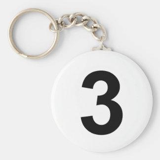 3 - number three keychain