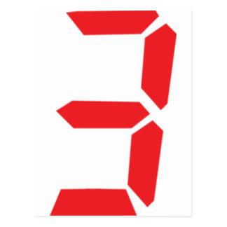 3 número digital del despertador de tres rojos tarjetas postales