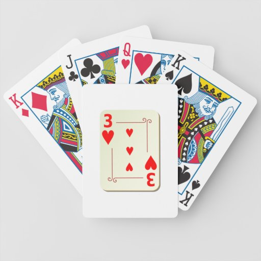 3 of Hearts Playing Card Bicycle Poker Cards