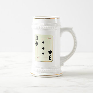 3 of Spades Playing Card Beer Stein