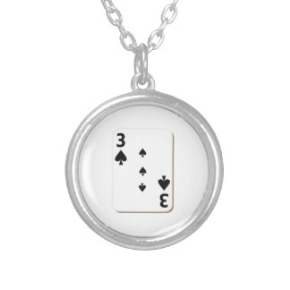 3 of Spades Playing Card Round Pendant Necklace