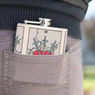3 of Swords Tarot Design Hip Flask