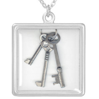 3 Old Keys Square Pendant Necklace