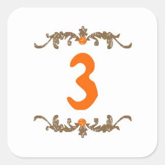#3 Orange & Brown Scroll Square Sticker