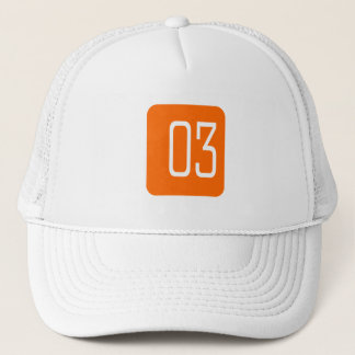 #3 Orange Square Trucker Hat