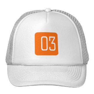 #3 Orange Square Trucker Hat