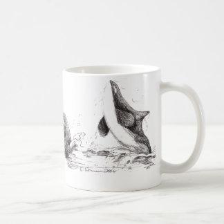 3 Orcas Playing Basic Mug
