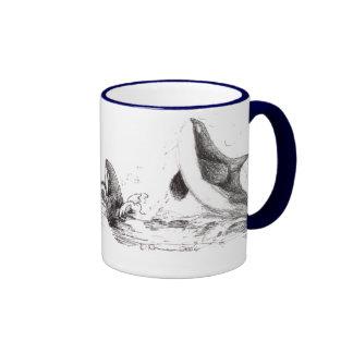 3 Orcas Playing Ringer Mug