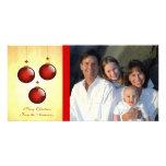 3 ornamentos rojos tarjetas fotograficas personalizadas