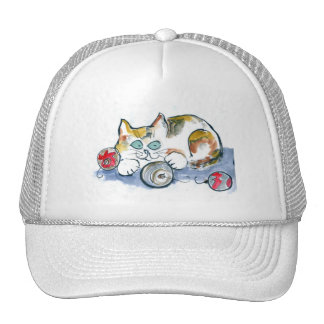 3 Ornaments & Calico Kitty Trucker Hat