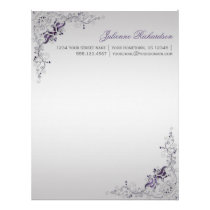 #3 Ornate Purple Silver Floral Swirls Letterhead