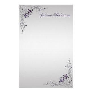 #3 Ornate Purple Silver Floral Swirls Stationery